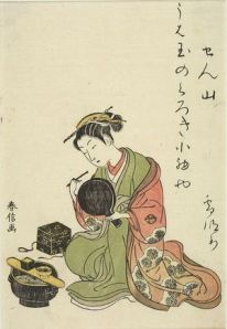 the Courtesan Senzan Blackening her teeth Harunobu
