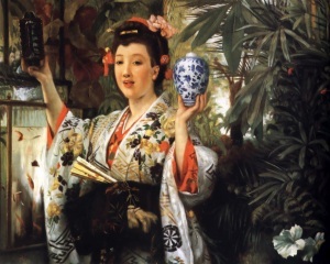James Tissot - Young Lady Holding Japanese Objects