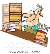 vector-of-a-happy-cartoon-author-signing-books-by-ron-leishman-35256