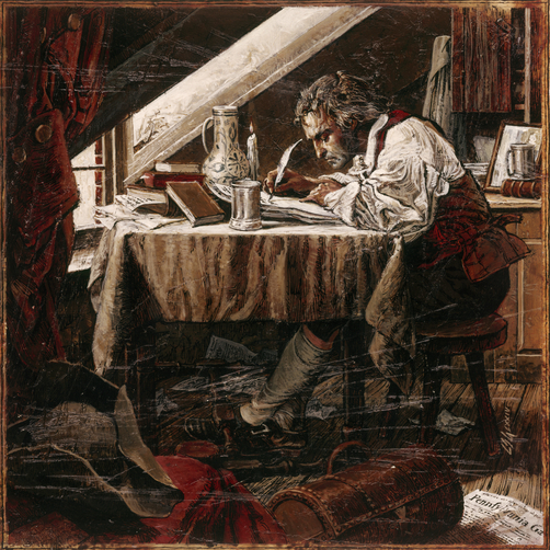 Painting of Thomas Paine writing at his desk by candle light.